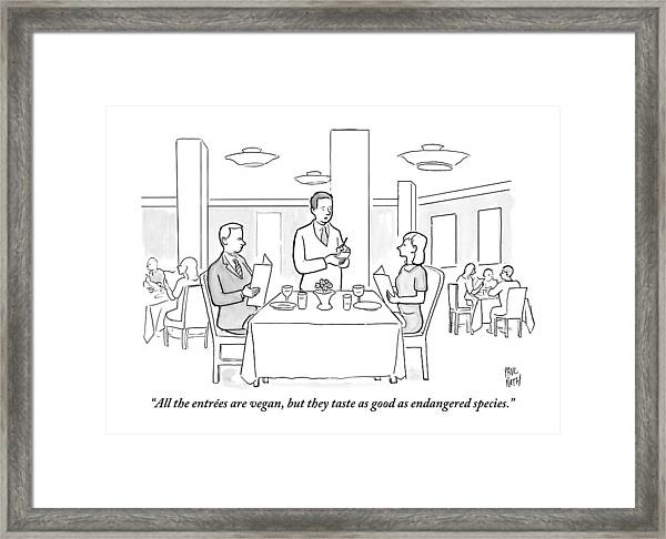 A Waiter Addresses A Couple Who Are Seated Framed Print