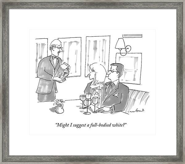 A Waiter At A Fancy Restaurant Presents A Carton Framed Print