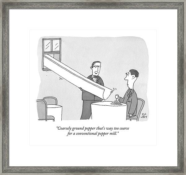 A Waiter Holds A Large Chute Over A Man's Plate Framed Print