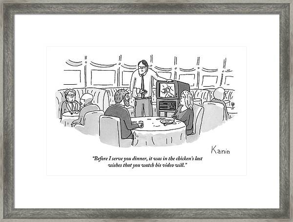 A Waiter Is Showing A Couple Seated At A Table Framed Print