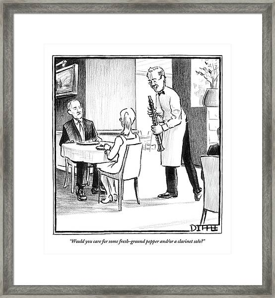 A Waiter Offers Pepper To Two Patrons. His Pepper Framed Print