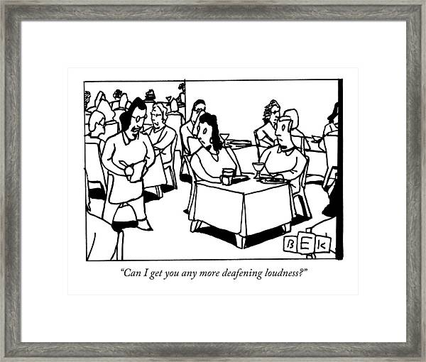 A Waitress In A Crowded Restaurant Addresses Framed Print