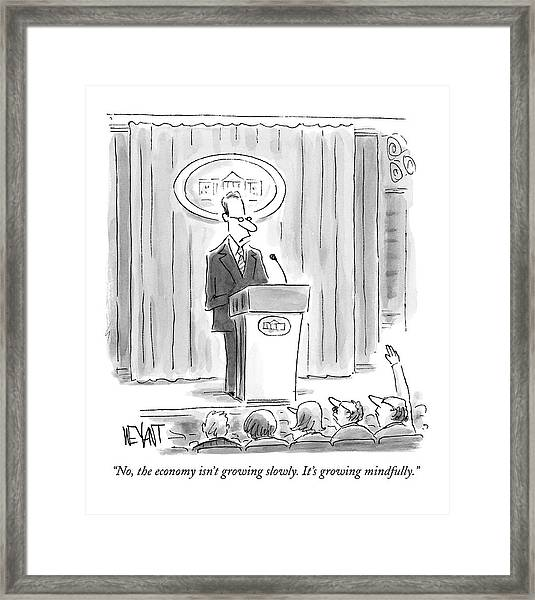 A White House Spokesman Addresses A Press Framed Print