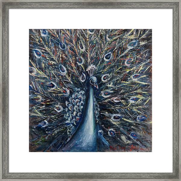 A White Peacock Framed Print