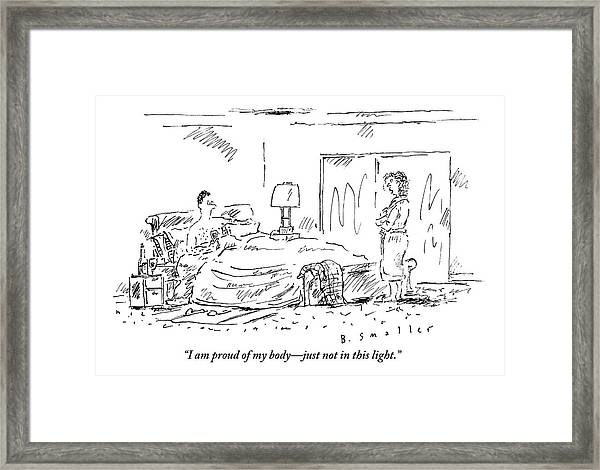 A Wife Is About To Hop Into Bed With Her Husband Framed Print