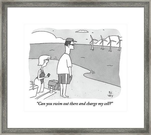 A Wife Speaks To Her Husband On The Beach Framed Print