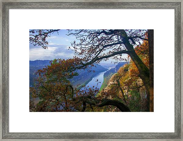 A Window To The Elbe In The Saxon Switzerland Framed Print