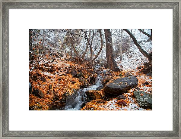 A Winter Scene In Jerome Arizona Framed Print