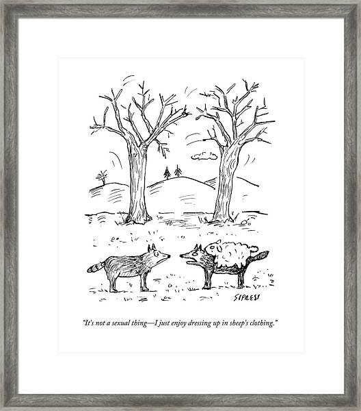 A Wolf In A Sheep Pelt Talking To Another Wolf Framed Print