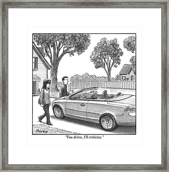 A Woman And Man Are Walking From Their House Framed Print