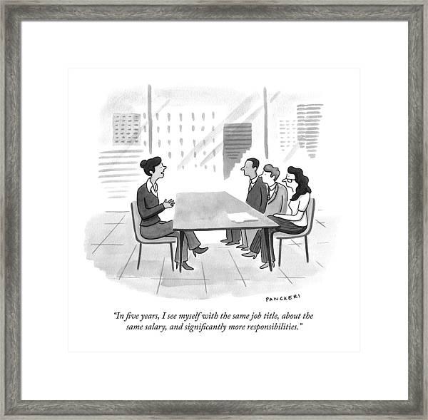 A Woman At A Job Interview Framed Print