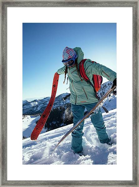 A Woman Backcountry Skiing Framed Print