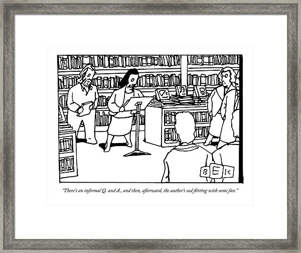 A Woman Behind A Podium Speaks To A Crowd Framed Print