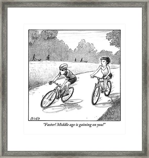 A Woman Casually Riding A Bicycle Addresses A Man Framed Print
