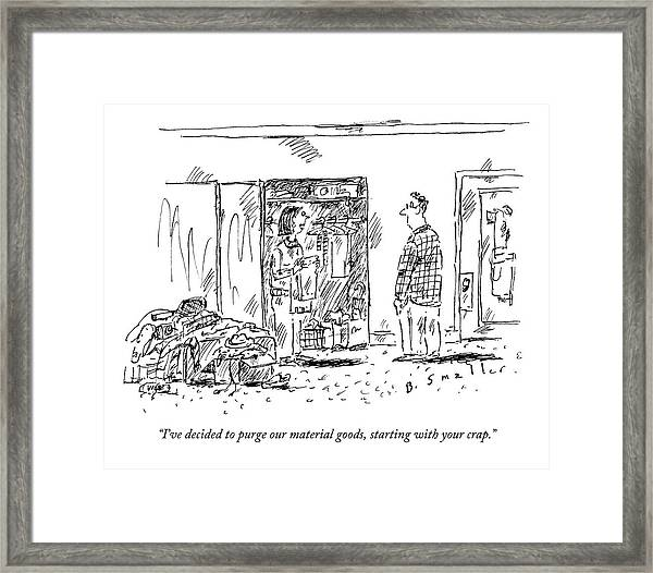 A Woman Cleans Out A Closet While Speaking Framed Print