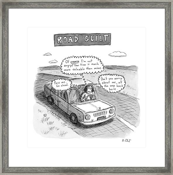 A Woman Driving Down The Road Acting Framed Print