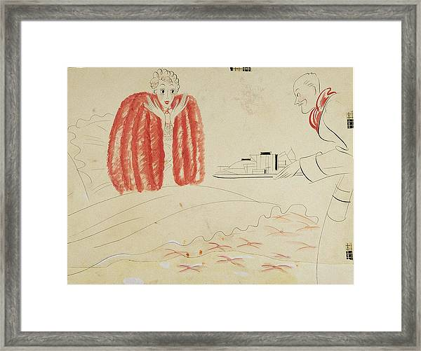 A Woman Getting Breakfast In Bed From Her Husband Framed Print by Eduardo Garcia Benito