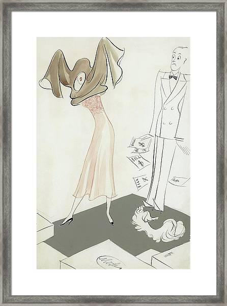 A Woman Hiding From Bills Framed Print by Eduardo Garcia Benito