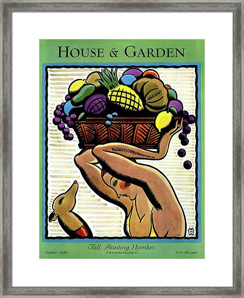 A Woman Holding A Basket Of Fruit Framed Print