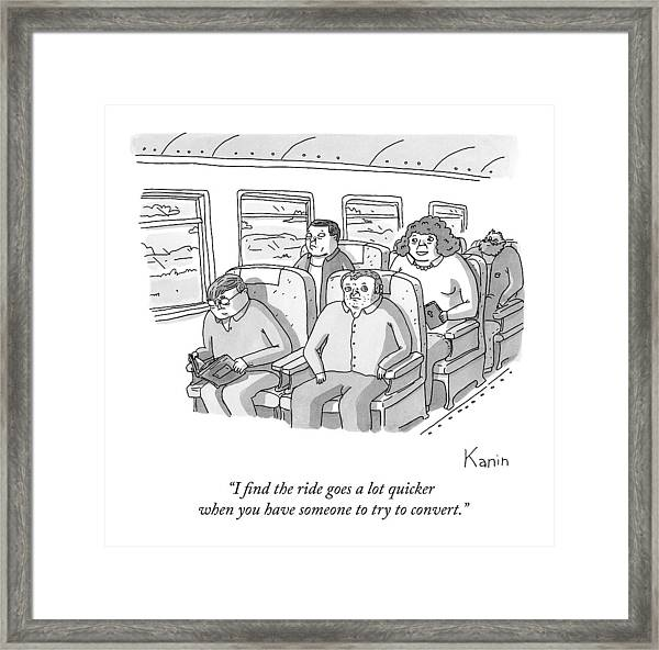 A Woman Holding A Bible Sits On The Plane Framed Print
