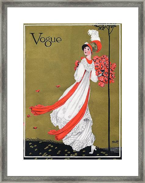 A Woman Holding Poppies Framed Print by George Wolfe Plank