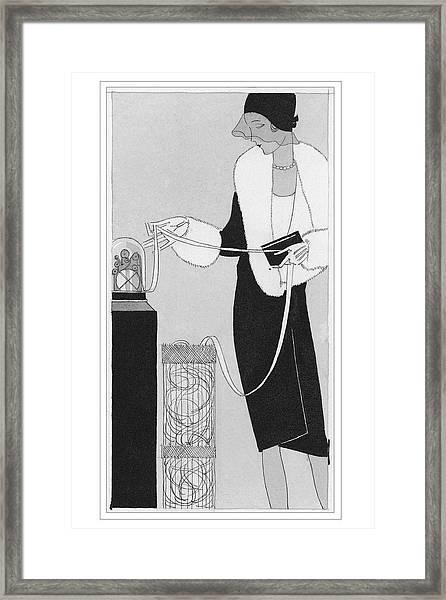 A Woman Holding Ticker Tape Framed Print
