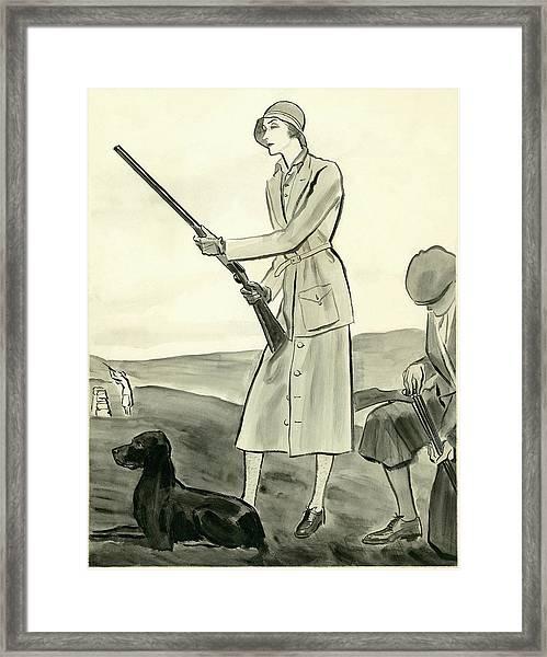A Woman Hunting Framed Print