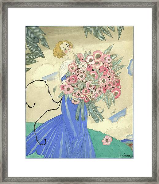 A Woman In A Blue Dress Holding A Bouquet Framed Print by Georges Lepape
