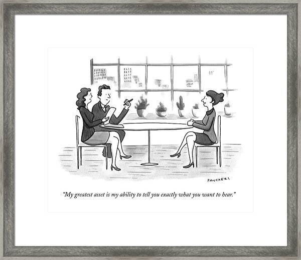 A Woman Interviews For A Job Framed Print