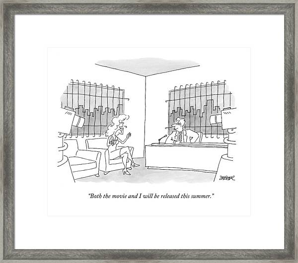 A Woman Is Being Interviewed By A Man Framed Print