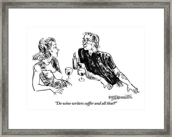 A Woman Is Seen Speaking With A Man As They Drink Framed Print
