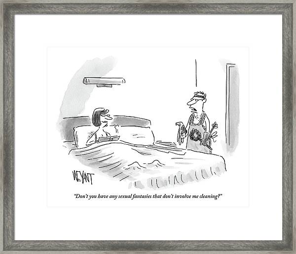A Woman Is Sitting Up In Bed And Her Husband Framed Print