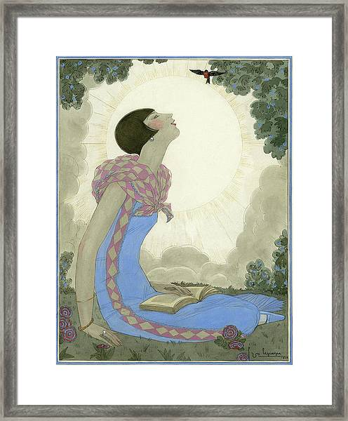 A Woman Looking At A Small Bird Framed Print