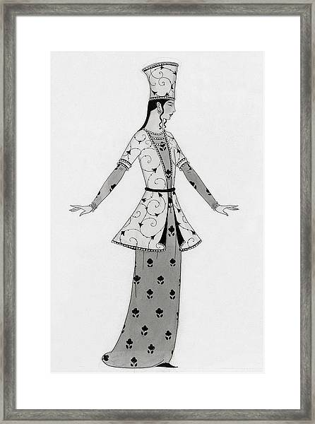 A Woman Modeling An Elaborate Costume Framed Print