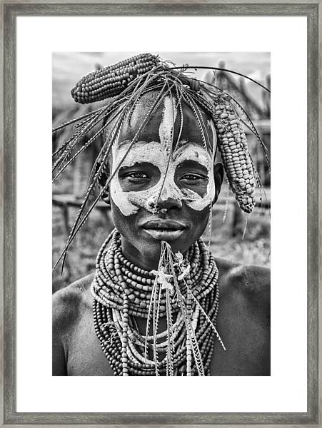 A Woman Of The Karo Tribe (omo Valley-ethiopia). Framed Print