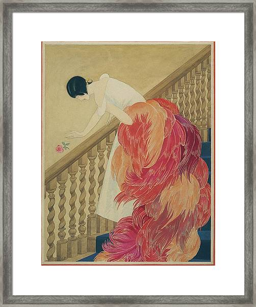 A Woman On A Staircase Framed Print