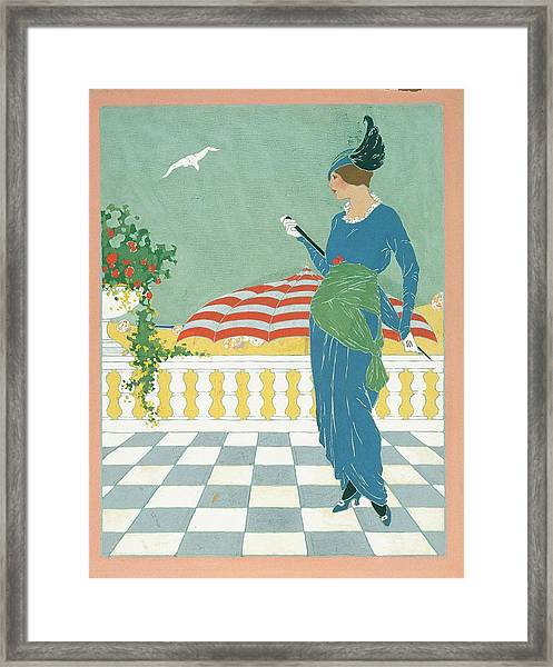 A Woman On A Terrace Framed Print by Will Hammell