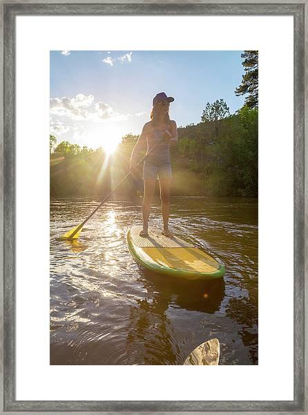 A Woman Paddleboarding On Animas River Framed Print