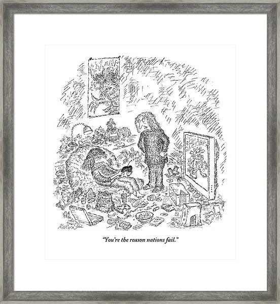 A Woman Reproaches A Man On The Sofa With Beers Framed Print