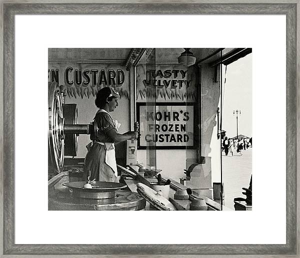 A Woman Selling Custard Framed Print by Lusha Nelson