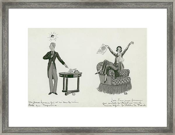 A Woman Sitting On An Armchair And A Man Pointing Framed Print by Pierre Brissaud