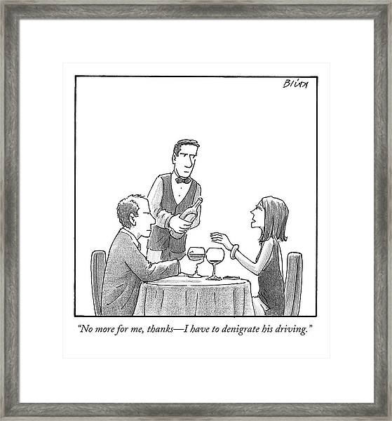 A Woman Sitting With Her Husband At A Restaurant Framed Print