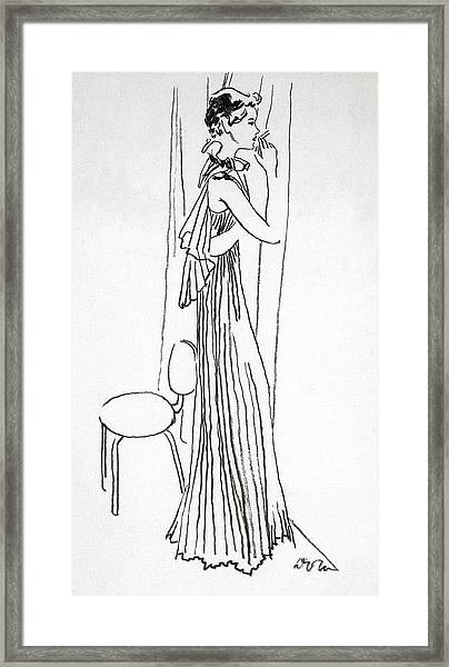 A Woman Smoking Framed Print by Abrams