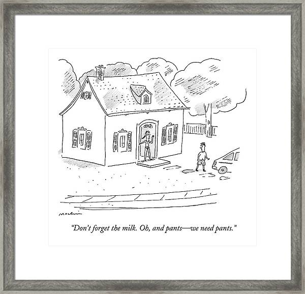 A Woman Speaks To Her Husband From The Doorway Framed Print
