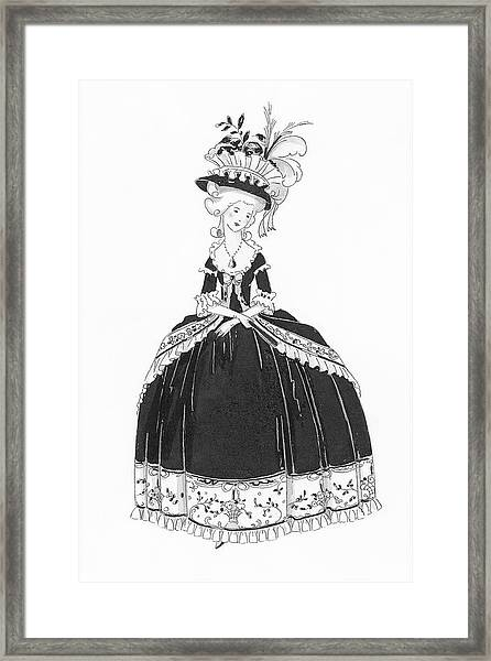 A Woman Styled Like Marie Antoinette Framed Print by Claire Avery