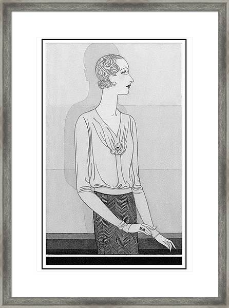 A Woman Wearing A Blouse And Skirt From Chantal Framed Print