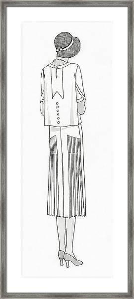 A Woman Wearing A Dress By Jean Patou Framed Print