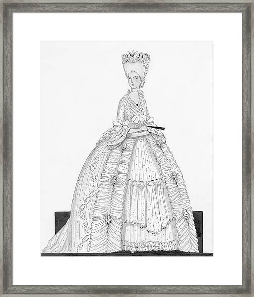 A Woman Wearing A Dress From 1790 Framed Print by Claire Avery