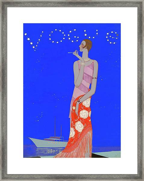 A Woman Wearing A Flapper Dress Framed Print