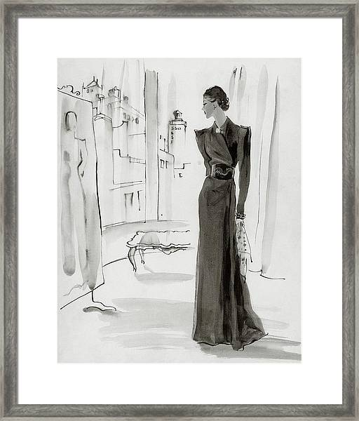 A Woman Wearing A House-coat Framed Print by Rene Bouet-Willaumez